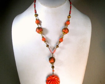 1930's SWEET Czech Glass Coral and Gold Necklace with Newer Rose Carved Coral Glass Pendant, OOAK, R Starr, Recycled Ecochic