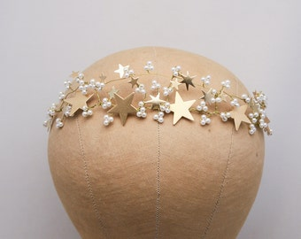 Rustic Gold Wedding Crown Woodland Wedding Headpiece with Vintage Stars and Pearls, Celestial Wedding Boho Wired Gold Tiara Hair Accessory