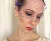 PURPLE Birdcage Veil 9 inch Bandeau French Netting, Purple Veil, Wedding Veil, Bridesmaid Veil, Wedding Accessory, Bridal Accessory