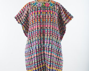 Vintage Guatemalan Huipil, Hand Woven Embroidered Colorful Ethnic Blouse Pancho