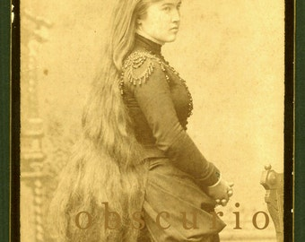 Very Long Hair - Pretty Woman - Bloomington, IL - Antique Cabinet Card