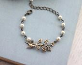 A Brass Leaf Branch Flying Bird Adjustable Vintage Style Bracelet. Bridesmaids Gift. Wedding Bracelet. Nature. Vintage Cottage Wedding