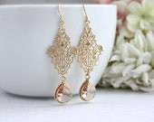 Peach and Gold Filigree Earrings, Moroccan Filigree Gold Pendants. Bridesmaid Gifts. Peach Boho Indie Wedding. Peach and Gold Wedding