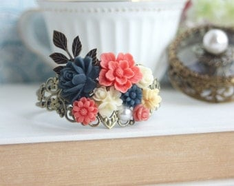 Wedding Cuff Bracelet Vintage Inspired Collage Cuff Bracelet Coral Navy Blue Ivory Collage Bracelet Woodland Coral Wedding Bridesmaid Gifts