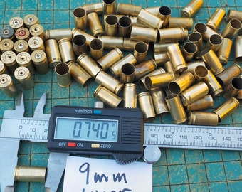 12 count, drilled, Brass 9mm shell casings, jewelry supply, spent ammo, steampunk, assemblage, found art jewelry