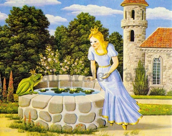 Fairy Tale Princess and the Frog Image Digital Download vintage  image for fabric transfer decoupage card rustic frog prince castle forest
