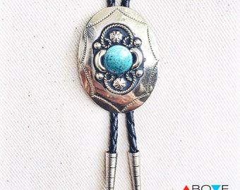 Genuine Silver and Turquoise BOLO TIE NECKLACE - 'The Mexicali' Southwestern Concho Bolo Tie