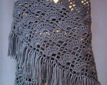 Shawl Crocheted - Country Blue - Handmade - Warm Wrap - Fashion Accessory Coverup - Reenactment Event - Great Christmas Gift - Ready to Ship