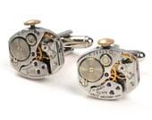 Antique 1950's Waltham Watch Movement Steampunk Cuff Links