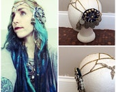 Tribal bellydance burning man headdress with tassels for fusion or cosplay. High shelf booze.