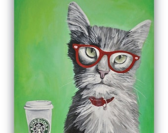 Hipster Kitty Cat wearing red glasses drinking Starbucks coffee PRINT