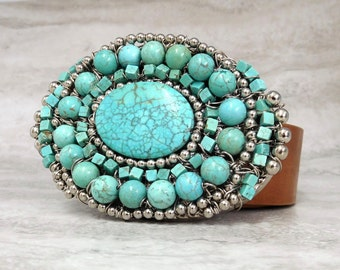 Turquoise Belt  Buckle - Native American Inspired Accessories by Sharona Nissan