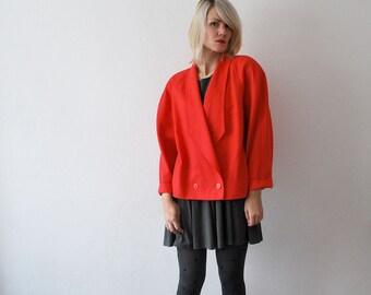 80s Louis FERAUD wool jacket. coral jacket. oversized jacket. cropped designer jacket - XL, plus size