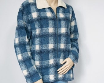 Vintage Jacket Blue Plaid Jacket Zip Up Jacket Plush Lightweight Boho Preppy Jacket Size Medium