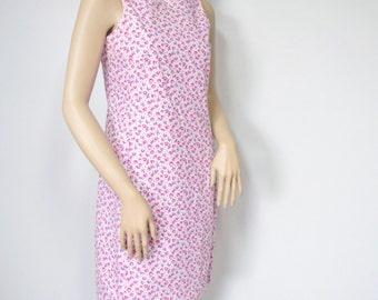 Dress Floral Vintage On Sale Shift Dress Spring Summer Dress Pastel Cotton Sleeveless Dress Size 6