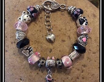 "CAT Mom ~ 7 3/4""  European Style Bracelet"