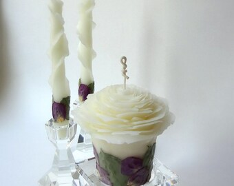 Purple Wedding Unity Candle Set, Beeswax Rose Candles, Unique Unity Candles, Romantic Wedding Decor, Fairytale Wedding Candles, Handmade