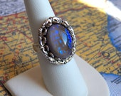Gorgeous Amulet Ring - Silver Adjustable Ring, Glass Opal Jewel - Handmade Jewelry by HoneyNest