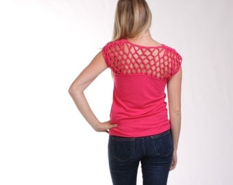CLEARANCE - Organic Bamboo Top, Organic Cotton Womens Tshirt, OpenBack, Open back, Hot Pink Tee, HandKnotted Basketweave, Origami Top - COCO