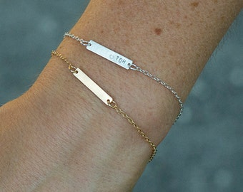 Hand Stamped Jewelry Friendship Bracelet, Name Jewelry, Custom Date Bracelet, Small Name Bracelet, Tiny Custom Initial Bracelet Bar Charm