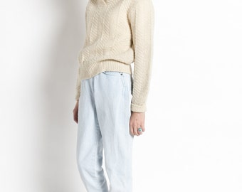 Vintage 60s Ivory Pendleton Shawl Collar Wool Sweater | S/M