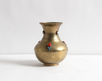 Vintage Small Indian Brass Vase with Inlaid Stones