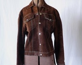 Late 60s early 70s boho chestnut suede levi style western jacket size Med.