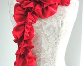 SALE - PETAL structured Scarf by FAIRYTALE13 - lipstick red - Handmade in the Uk.