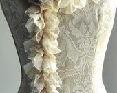SALE - Patchwork petal scarf by Fairytale13 - cream, lace and pleated jaresey mix - handmade in the Uk.