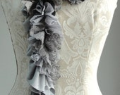 SALE - Patchwork petal scarf by Fairytale13 - light grey tones, graphite, lace and textured jersey mix - handmade in the Uk.