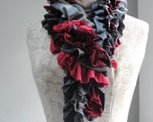 SALE - Patchwork petal scarf by Fairytale13 - light grey, reds, pink, graphite, lace and textured jersey mix - handmade in the Uk.