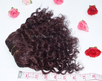 Wefted doll hair mohair goat hair dark chocolate for waldorf, Blythe natural Doll Hair, Blythe Doll Reroots, tress, human hair