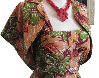 Vintage Dreamy Rayon Floral Tropical 40's 50's Designer Malihini Hawaii Dress w Matching Bolero Jacket