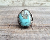 Vintage size 10.5 Morenci turquoise sterling silver statement ring, Southwest turquoise jewelry, Old Pawn sterling silver turquoise ring
