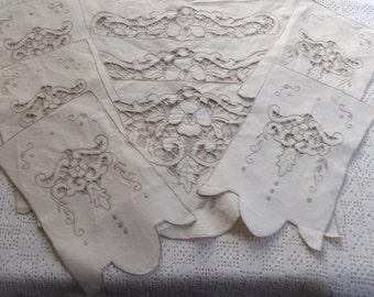 Vintage Linen Antimacassar Cutwork Doilies 8 pc.