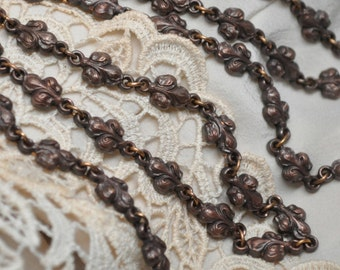 Antique French Fleur de Lis Solid Brass Link Chain Made in Paris France 18 Inch Piece
