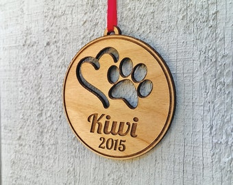 Personalized Pet Ornament Custom Engraved with Heart PawPrint Pets Name and Date Dog Cat Christmas Ornament Gift Holiday Tree Decor Ornament