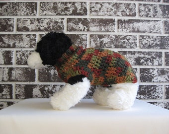 Fall colors dog sweater, xs dog sweater, small dog sweater, crochet dog sweater