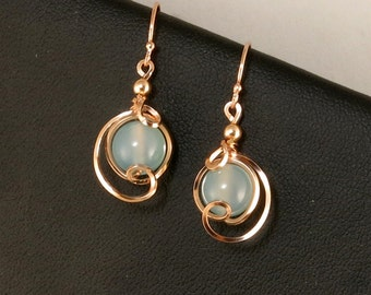 Light Blue Chalcedony Rose Gold Drop Earrings, Small Ice Blue Asymmetrical Rose Gold Jewelry