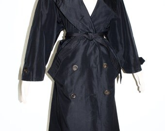 YVES SAINT LAURENT Rive Gauche Vintage Trench Rain Coat Traditional Black Cotton Overcoat - Authentic -