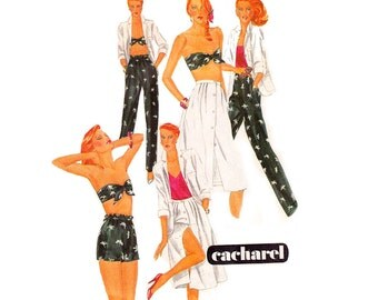 80s Jacket Bra Top Skirt Shorts Pants Pattern McCall's 7149 CACHAREL Vintage Sewing Pattern Size 10 Bust 32 1/2 inches UNCUT Factory Folded