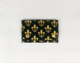 Fleur De Lis Snap Wallet or business card holder Black and Gold