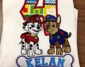 Paw Patrol Birthday Shirt, Chase and Marshall