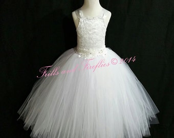 White or Ivory Flower Girl Dress-Lace Halter Corset Dress - Several Dress Colors Available- Size 1t, 2t, 3t, 4t, 5t, 6, 7, 8, 10 or 12