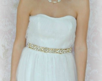 "Gold Skinny Sash, Swarovski Crystal Bridal Sash, Gold Rhinestone Wedding Belt, 24.5"" of Crystals - AUTUMN GLOW"