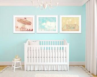 toddler girl room decor, set of 3 prints, carnival art, nursery wall art girl, aqua pink yellow, aqua girls room, gallery wall art, girl art