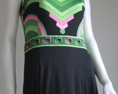 RESERVED  60s 70s vtg  long art deco  dress