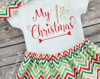My First Christmas Baby Girl Christmas Outfit; Babies First Christmas Outfit; 1st Christmas Skirt & Onesies® brand by Gerber®