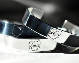 Ohio State Cuff Personalized Bracelet . Ohio Home Jewelry . OH State Shape Jewelry . TatumBradleyCo