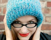 Chunky Slouchy Beanie, Long Blue Beanie Hat, Hand Knitted Womens Hat, Mens Tam Hat, Turquoise Blue Grey Melee Winter Fashion, Autumn Beanie